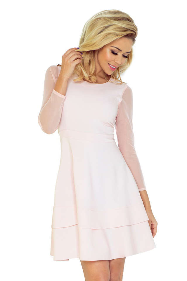 Broskvové šaty s tylovými rukávy 141-4