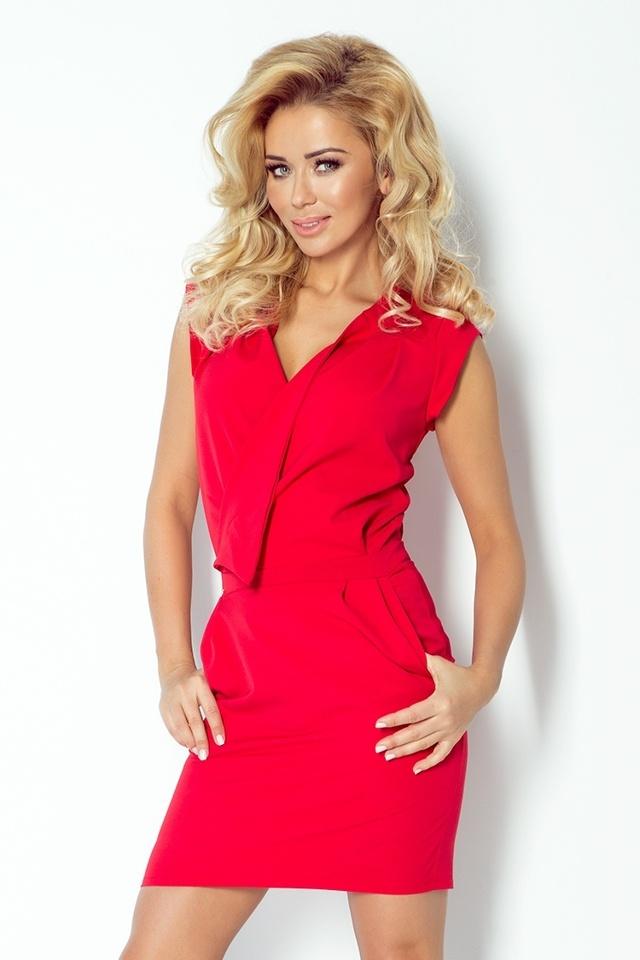 Červené šaty s překládaným výstřihem 94-2 - XS