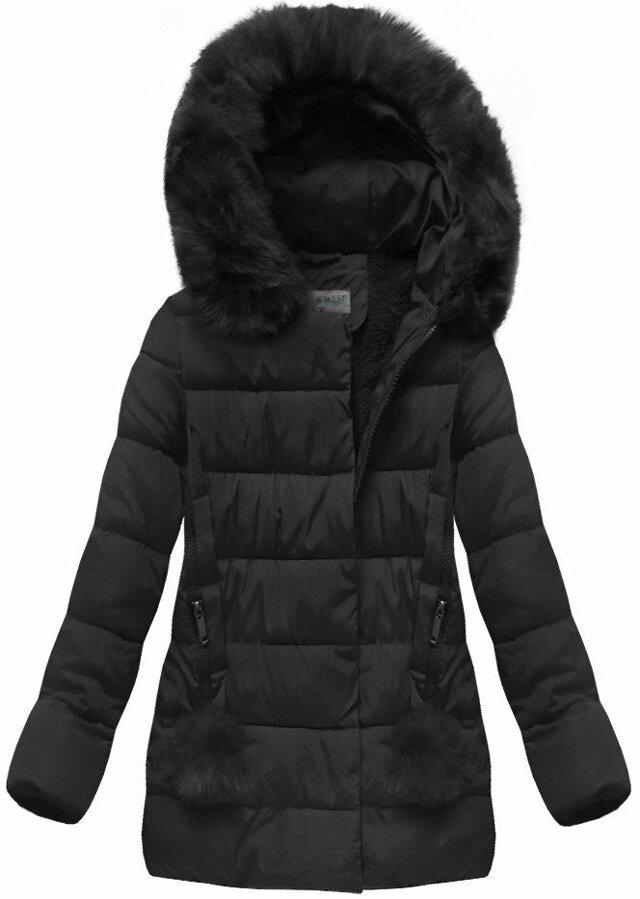 Černá dámská zimní bunda s kapucí (B3572) - S (36) - černá