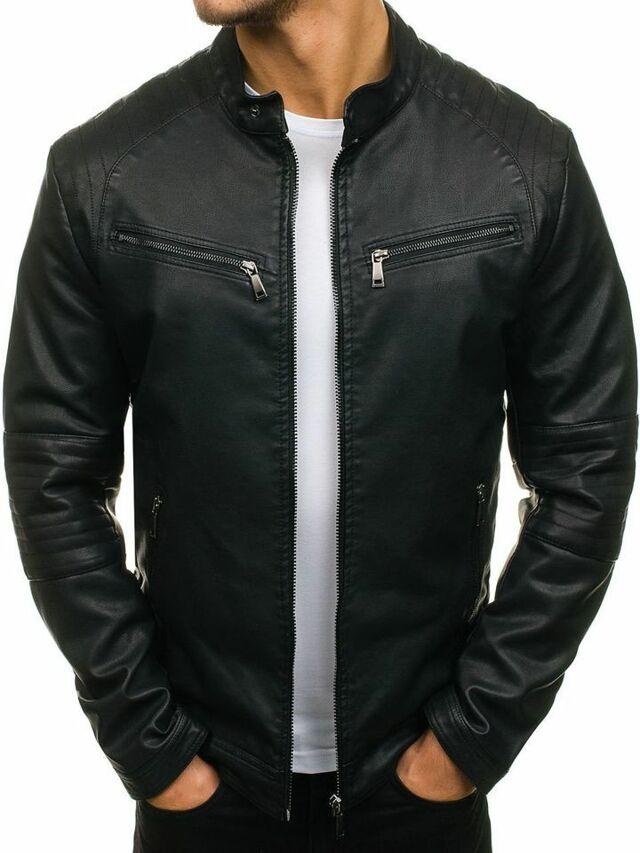 Pánská kožená bunda JP-1032 (tx 1716) - J.Boyz - M - černá