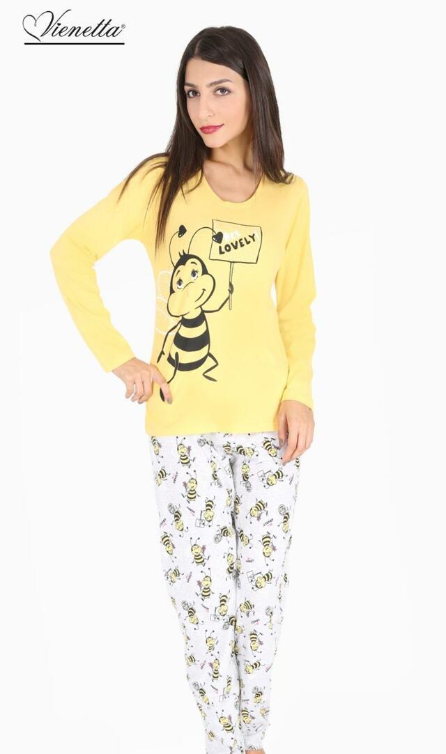 Dámské pyžamo dlouhé Včela Lovely - šedá S