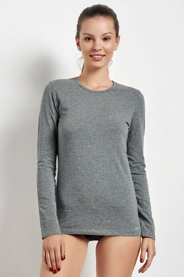 Dámské triko s dlouhým rukávem 20735 grey - M - šedá