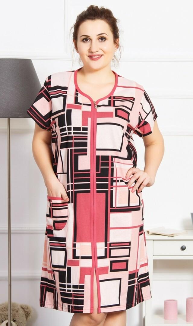Dámské domácí šaty s krátkým rukávem Michaela - lososová 1XL 3c5217bbc6