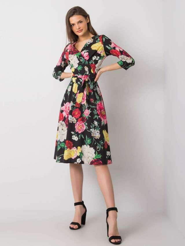 Černé květinové šaty - 36