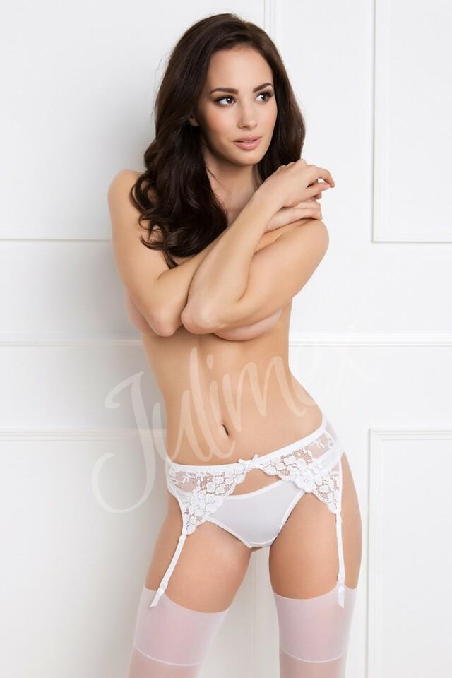 Podvazkový pás Daisy white - XL - bílá