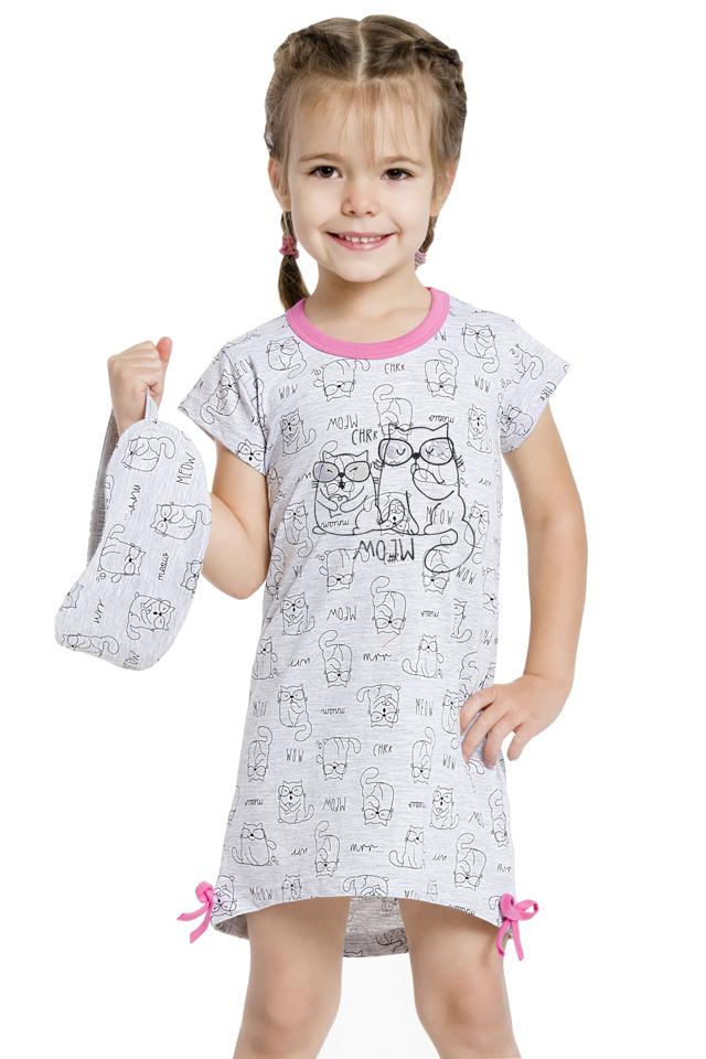 Dívčí noční košilka Lilie šedá s kočičkami - 128