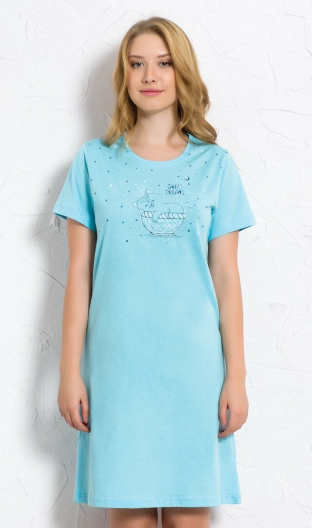 Dámská noční košile s krátkým rukávem Kotě v košíčku - tyrkysová S