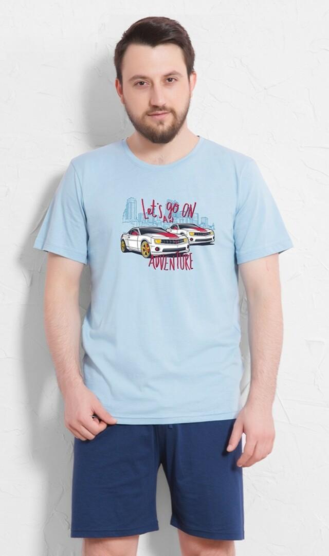 Pánské pyžamo šortky Adventure - světle modrá XXL