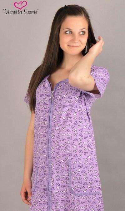 Dámská noční košile s krátkým rukávem Srdce a zip