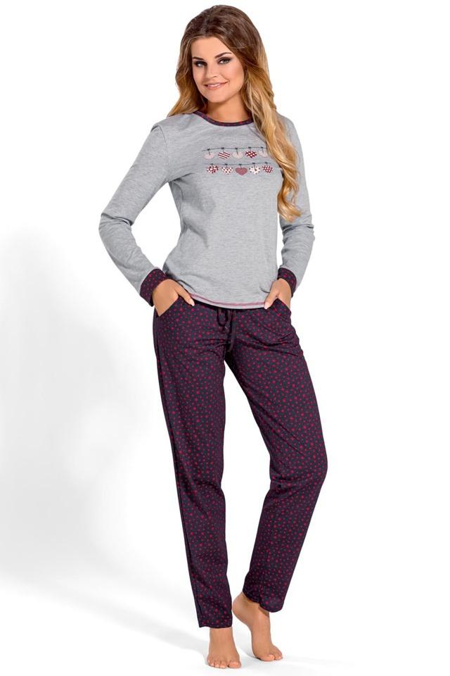 Dámské pyžamo Babella 3107 - XL - šedá-tmavě šedá