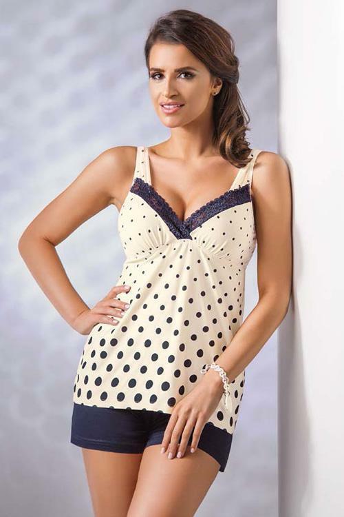 Dámské pyžamo Donna Sonia PJ 1/2 cream - XL - krémová