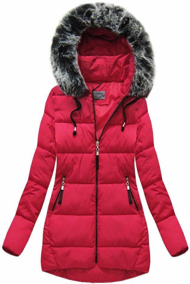 Červená dámská zimní bunda s kapucí (R1026) - XXL (44) - červená