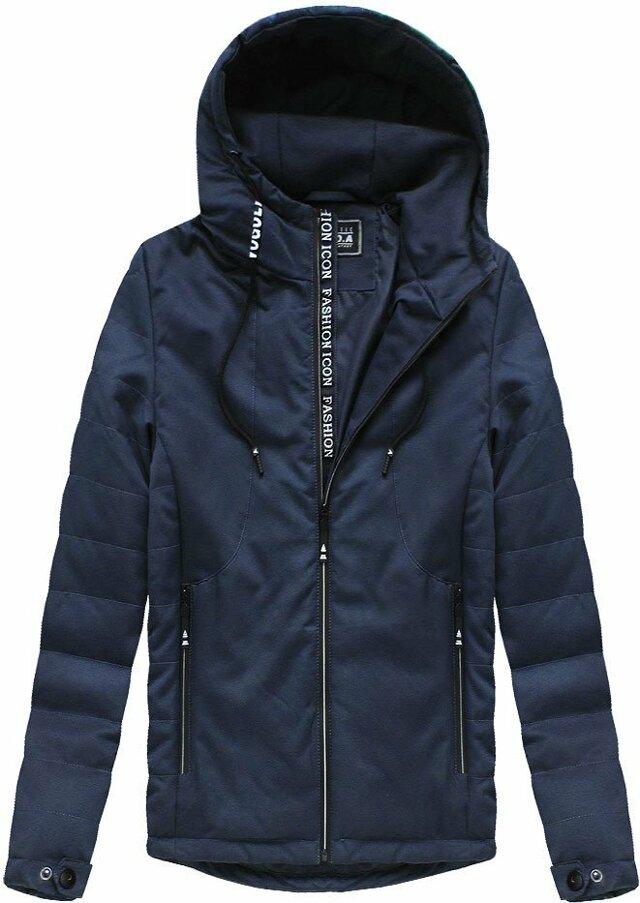 Tmavě modrá pánská bunda s kapucí (M722) - M - tmavěmodrá