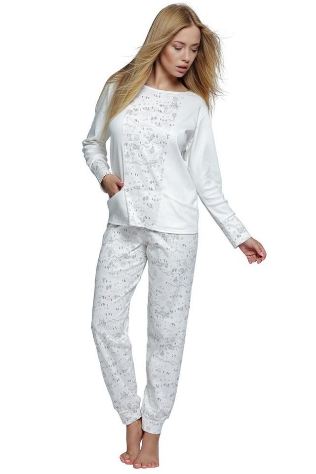 Dámské bavlněné ecru pyžamo Live - XL