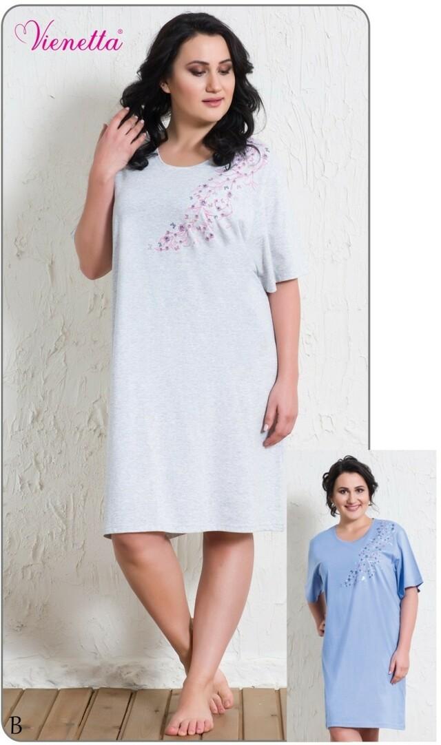Dámská noční košile s krátkým rukávem Evelína - modrá 1XL