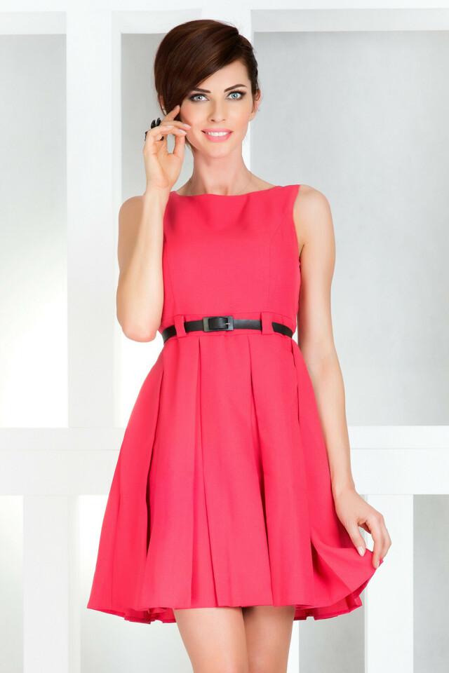 Dámské společenské šaty NUMOCO s páskem středně dlouhé růžové - Růžová / XL - Numoco - XL - růžová