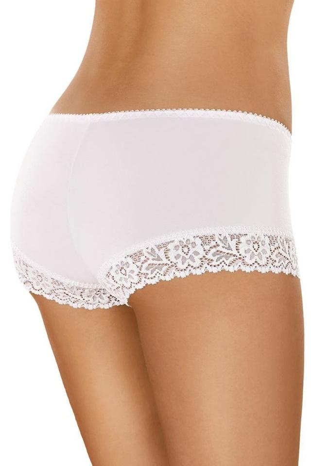 Bavlněné krajkové kalhotky s nohavičkou 55 bílé - S