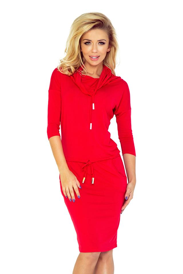 Červené sportovní šaty s rolákem 44-13