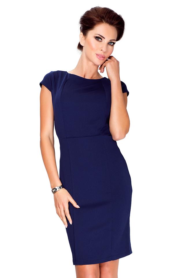 Tmavě modré elegantní šaty s krátkými rukávy 37-2
