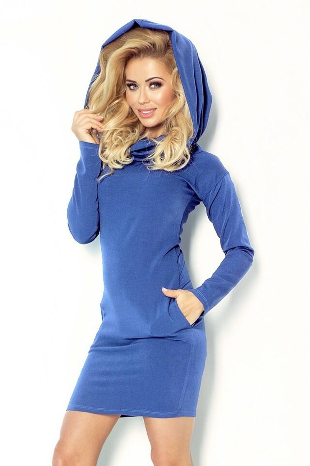 Džínově modré šaty s rolákem 96-3 Numoco - L - jeans