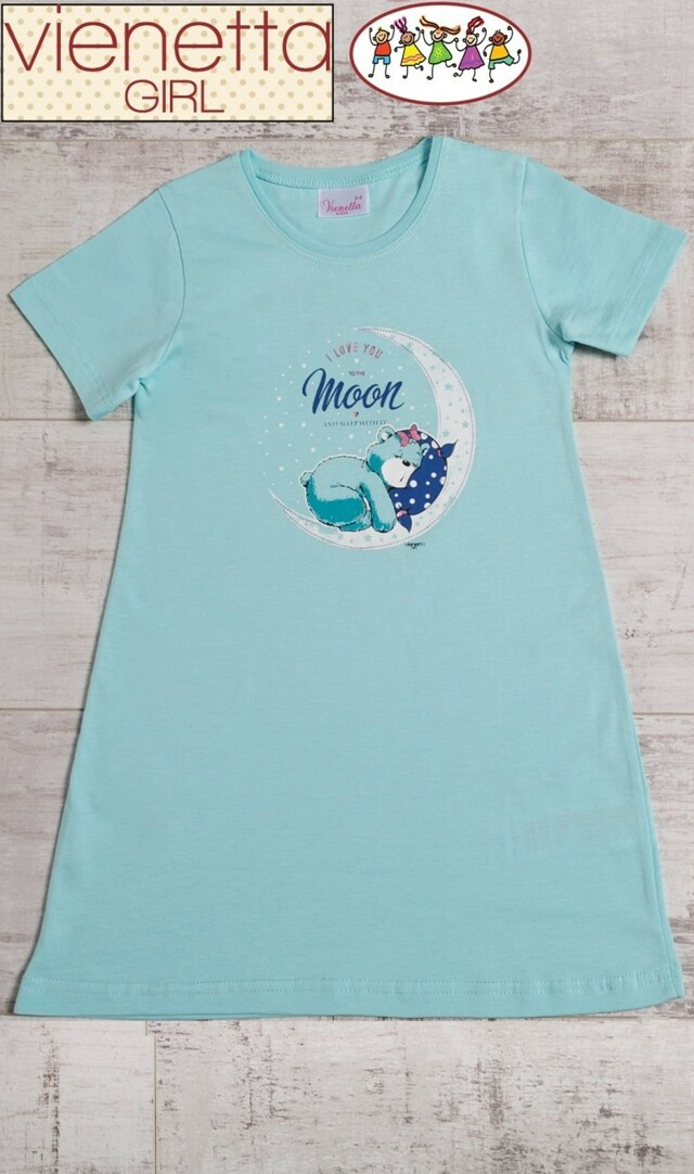 Dětská noční košile s krátkým rukávem Méďa na měsíci - mentolová 3 - 4