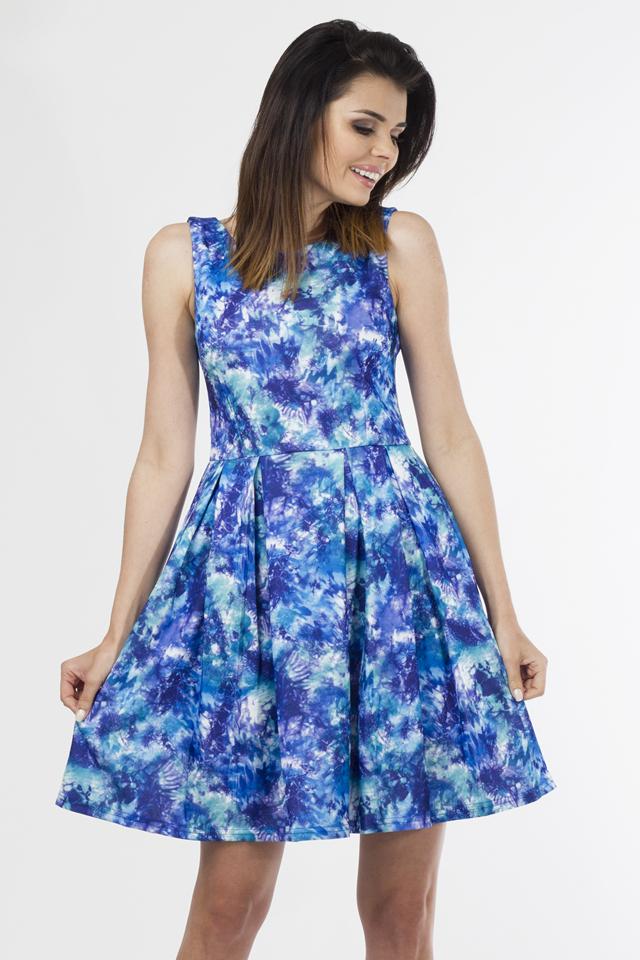 Denní šaty model 58433 - Depare - L - bílo-modré květy
