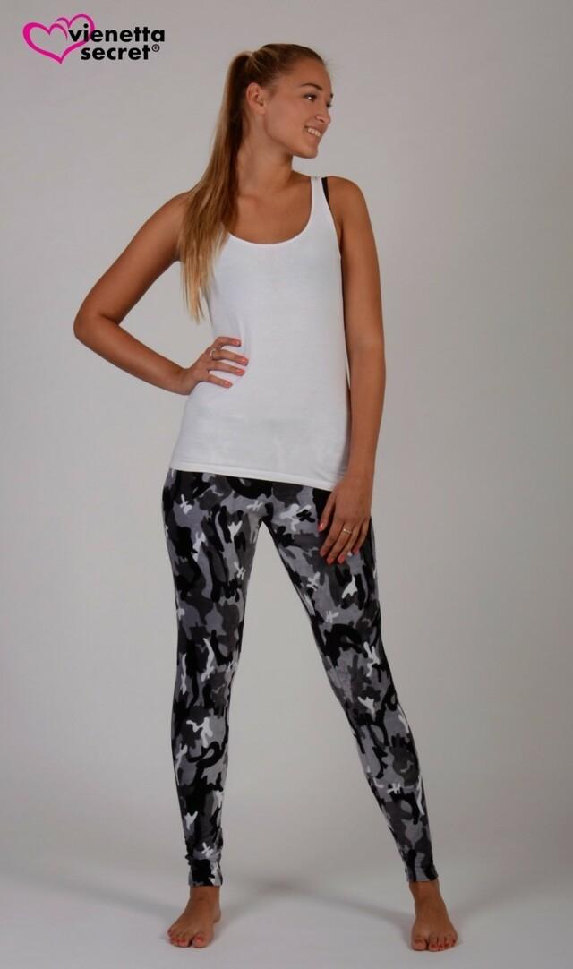 Dámské elastické kalhoty Army - tmavě hnědá XL