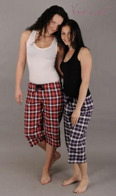Dámské pyžamové kapri kalhoty Lucie - červená S