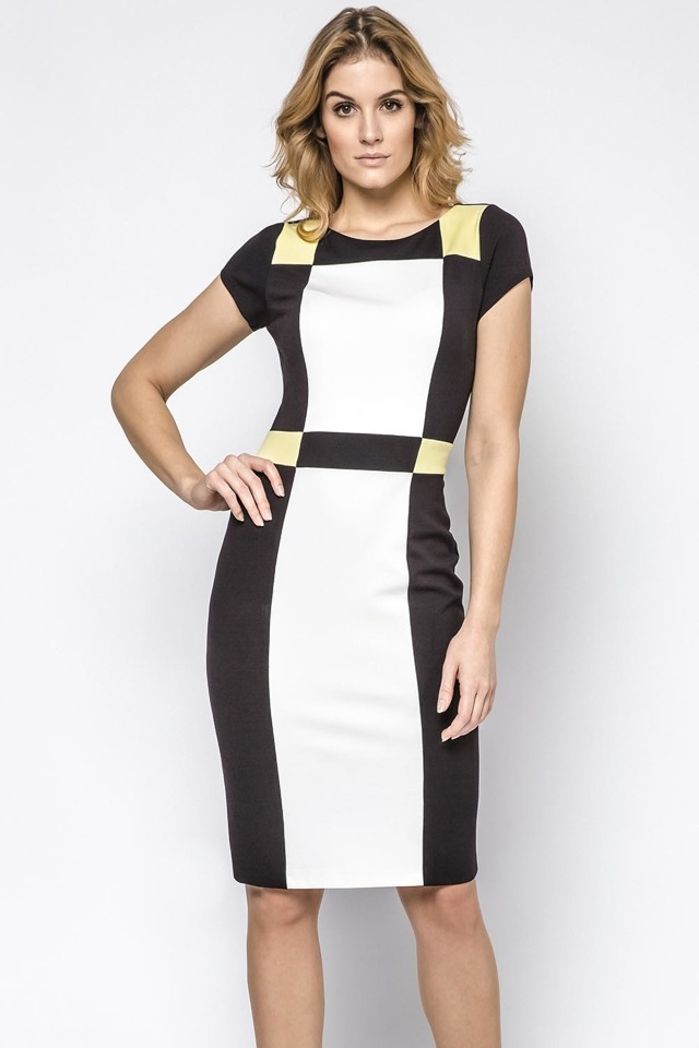Dámské šaty Ennywear 230145 - 44 - černá-okrová