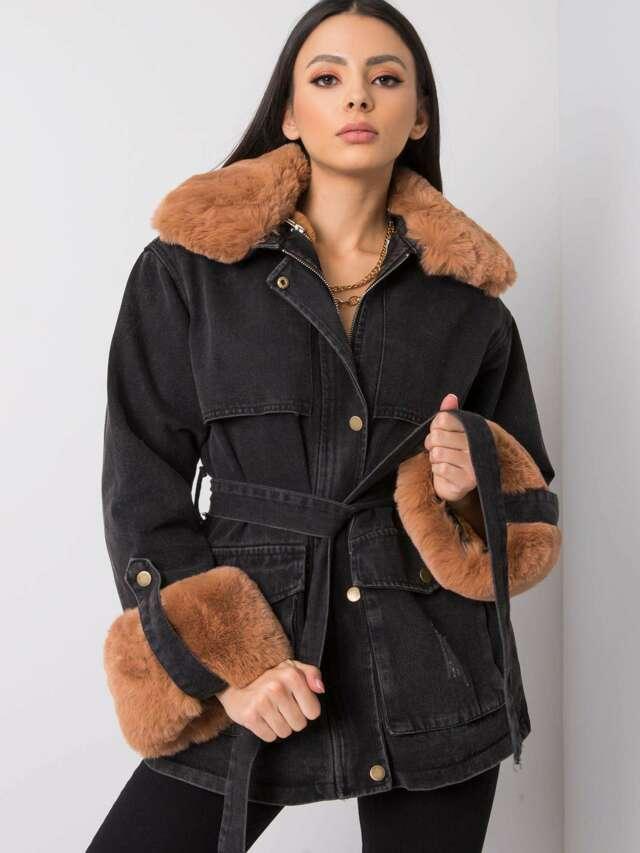 Grafitová džínová bunda s kožešinou - ONE SIZE