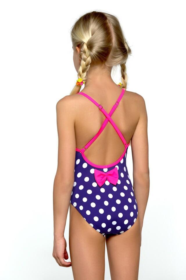 Plavky dívčí jednodílné Jolana bílé puntíčky - 140