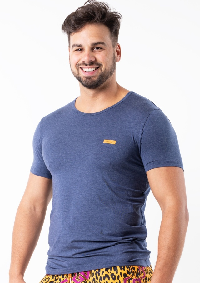 Pánské tričko Guess U92M04 - XL - Modrá