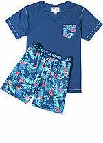 Pánské pyžamo 550007 - Jockey - M - modrá-květy