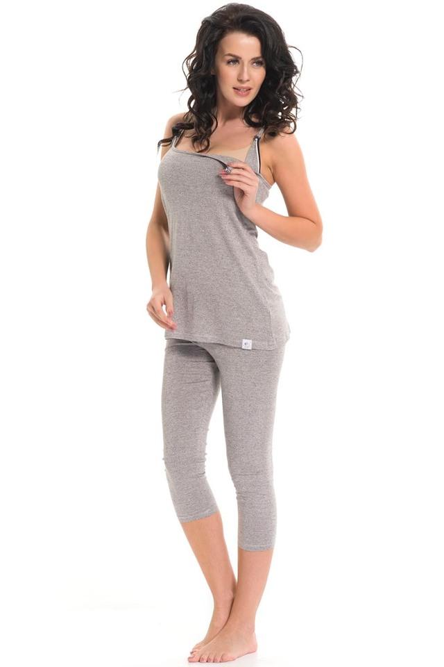 Těhotenské/kojící pyžamo Dn-nightwear PCB.9286 - S - dark grey