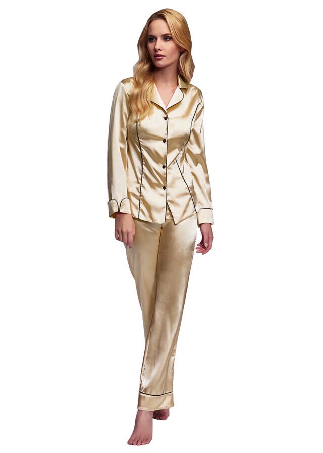 Luxusní saténové pyžamo Hayley béžové - XL