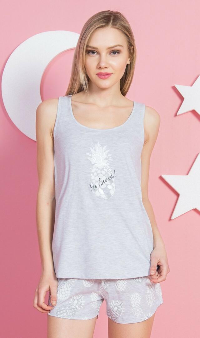 Dámské pyžamo šortky na ramínka Ananas - světle šedá S