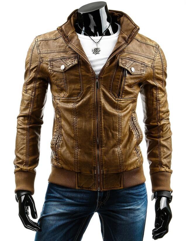 Pánská kožená bunda 12680 (tx1873) - HTRANG - 3XL - hnědá