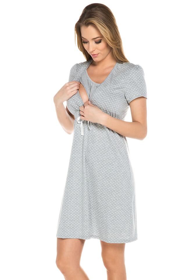 Bavlněná těhotenská noční košile Alena šedá - S