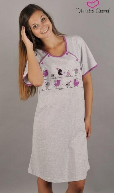 Dámská noční košile mateřská Ptáci na šňůře