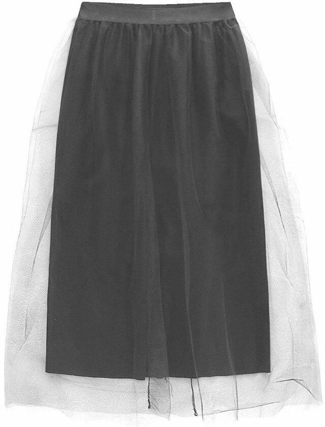 Černá tylová sukně s délkou midi (104ART) - ONE SIZE - černá