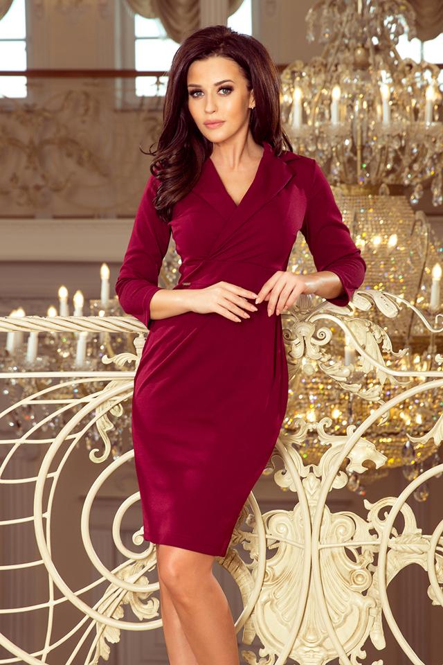 1122f45dea92 KELLY - Elegantní dámské šaty v bordó barvě s výstřihem 237-2