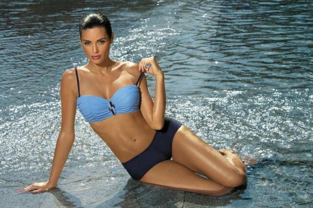 Dámské dvoudílné plavky Tiffany M-319 - Marko - XL - tm. modrá s modrou
