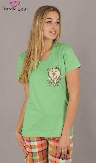 Dámské pyžamo kapri Kočka s kytkou - lososová XL