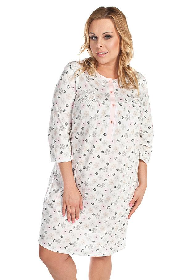 Dlouhá bavlněná noční košile Azalka ecru - XL