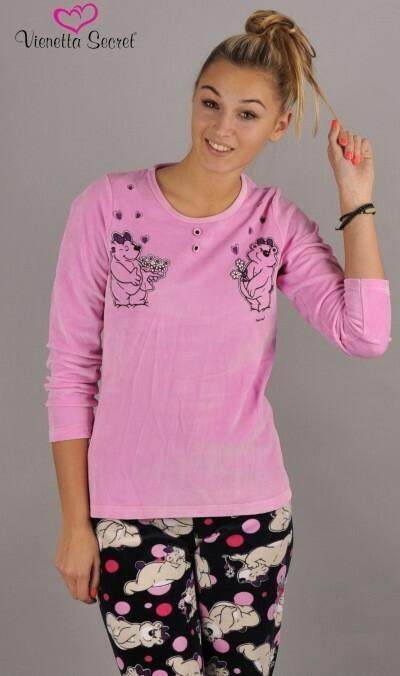Dámské pyžamo dlouhé Méďové - korálová XL
