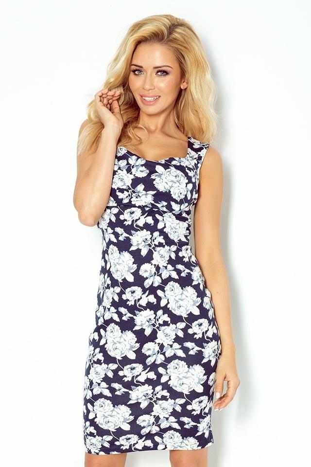 Tmavě modré šaty s květy a výkrojem na zádech 104-2 - L