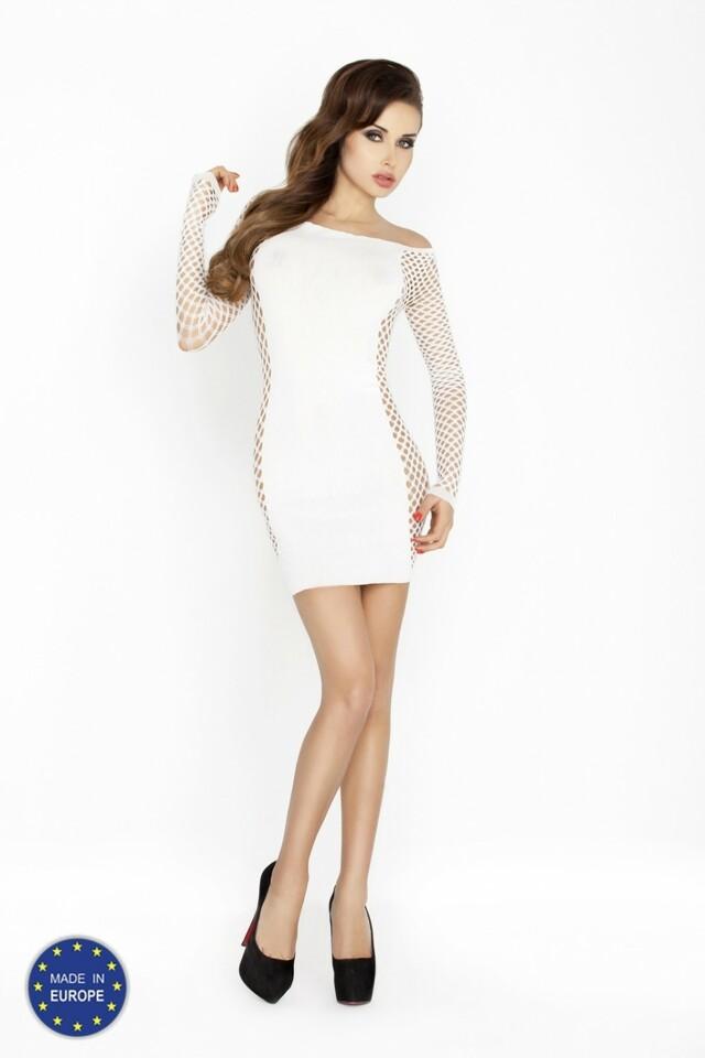 Erotické šaty BS025 white - Univerzální - bílá