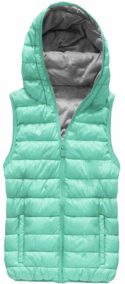 Oboustranná vesta v mátové barvě s kapucí (B1002) - S (36) - zelená