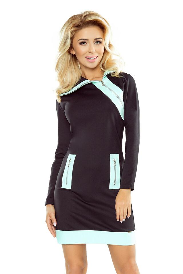 Černé šaty se třemi zipy v mátové barvě - S