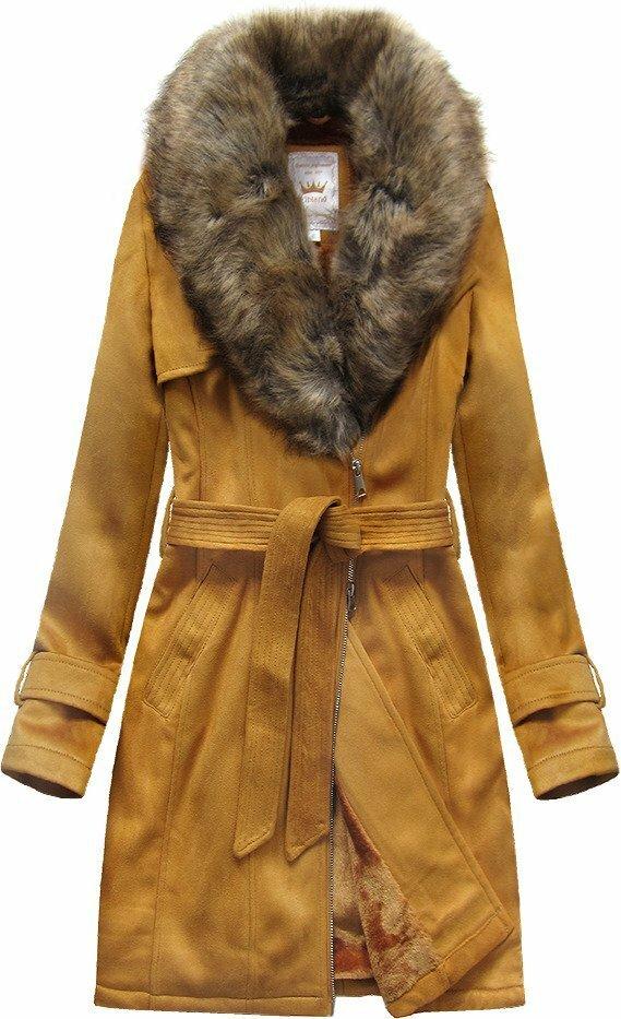 Semišový kabátek v hořčicové barvě s páskem (6515) - XXL (44) - žlutá